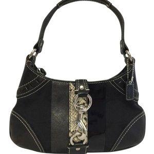 Coach Hampton Python Stripe Canvas Leather  Bag